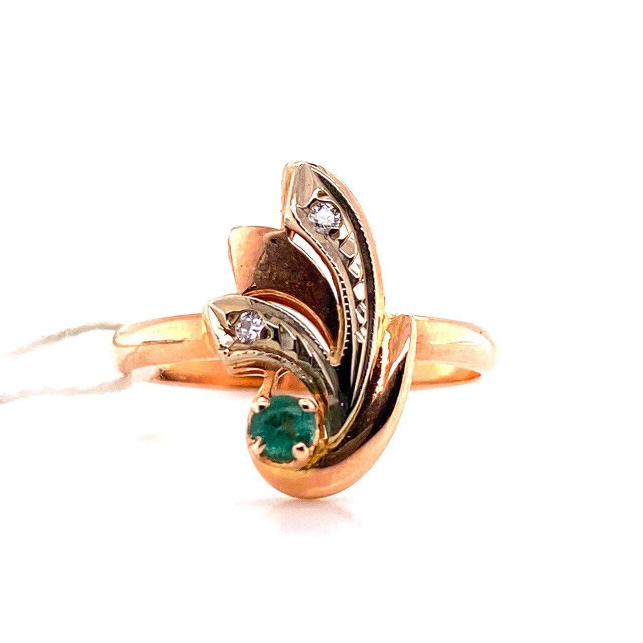 Золотое кольцо Бриллиант и Изумруд арт. е6640 е6640
