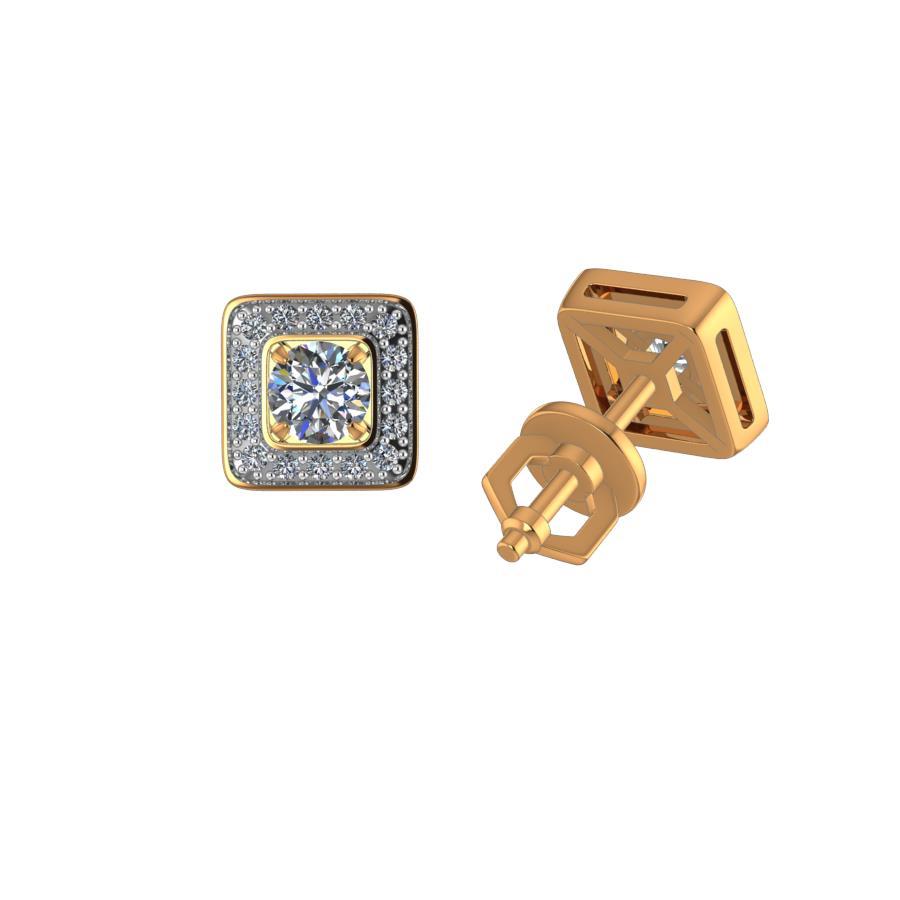 Серьги пусеты из золота с бриллиантом арт. ПС-115/1К ПС-115/1К