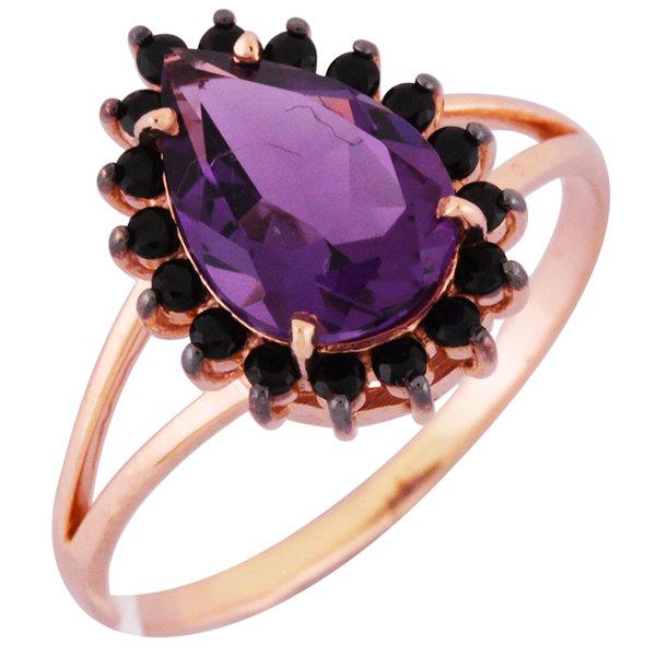 Золотое кольцо Аметист и Фианит арт. 1320998 1320998