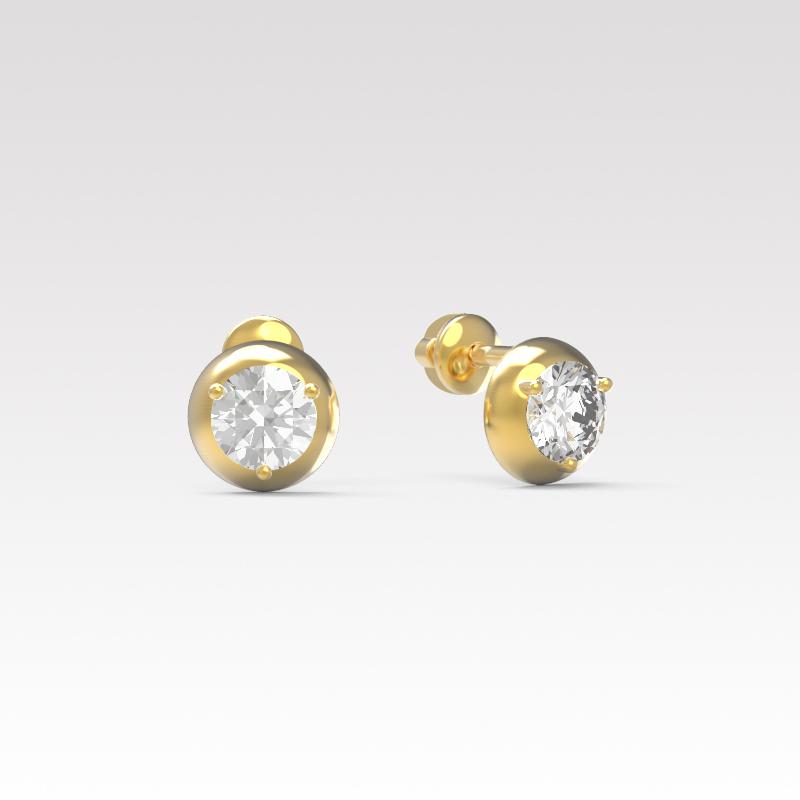 Серьги пусеты из золота с фианитом арт. с-064 с-064
