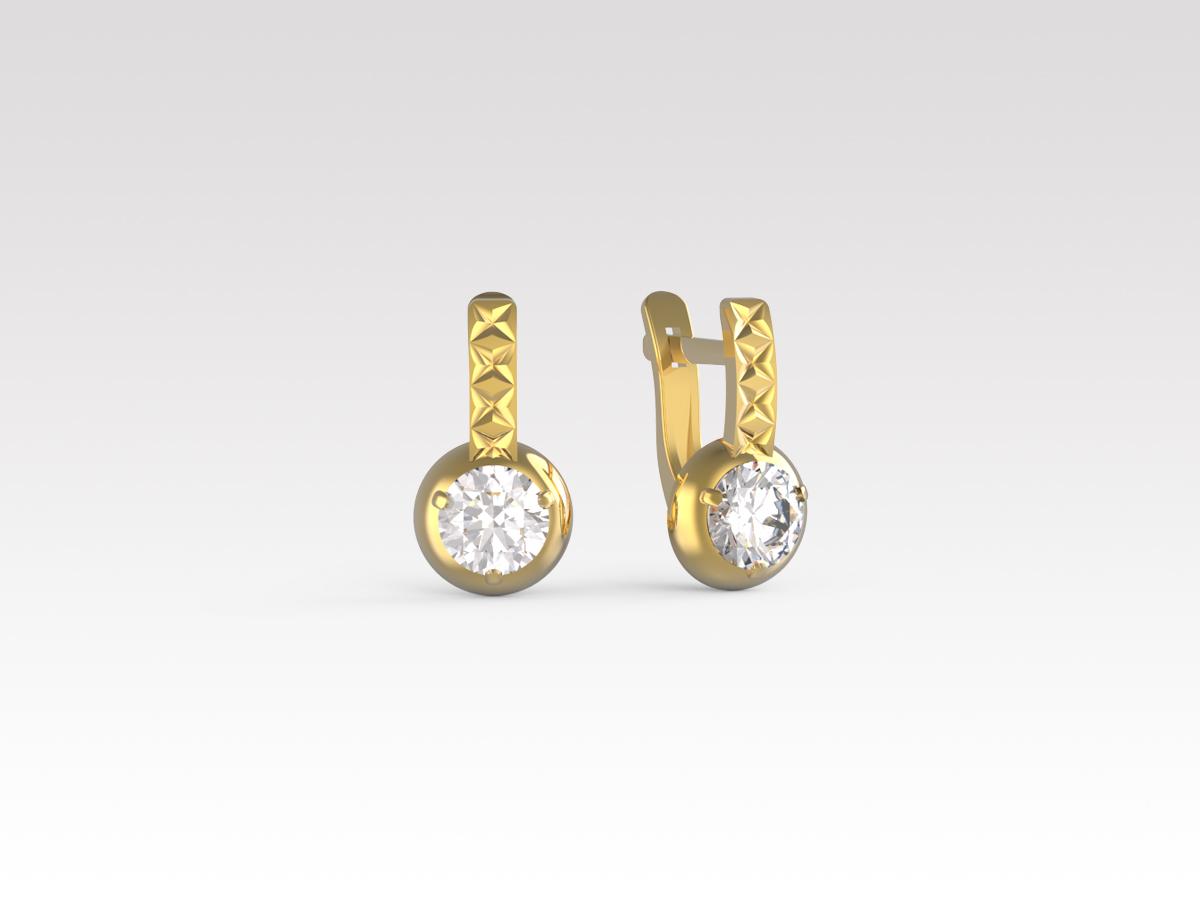 Золотые серьги с фианитом арт. с-071-а с-071-а