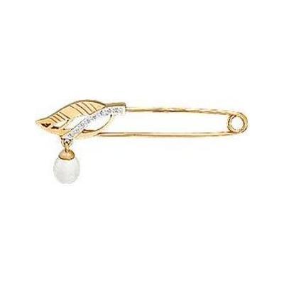 Золотая булавка с жемчугом и фианитом арт. бр12794 бр12794