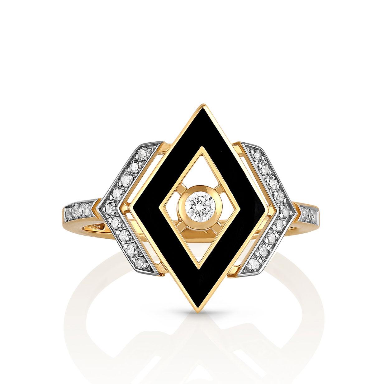 Кольцо из лимонного золота Бриллиант и Эмаль арт. 11-21044-1002 11-21044-1002