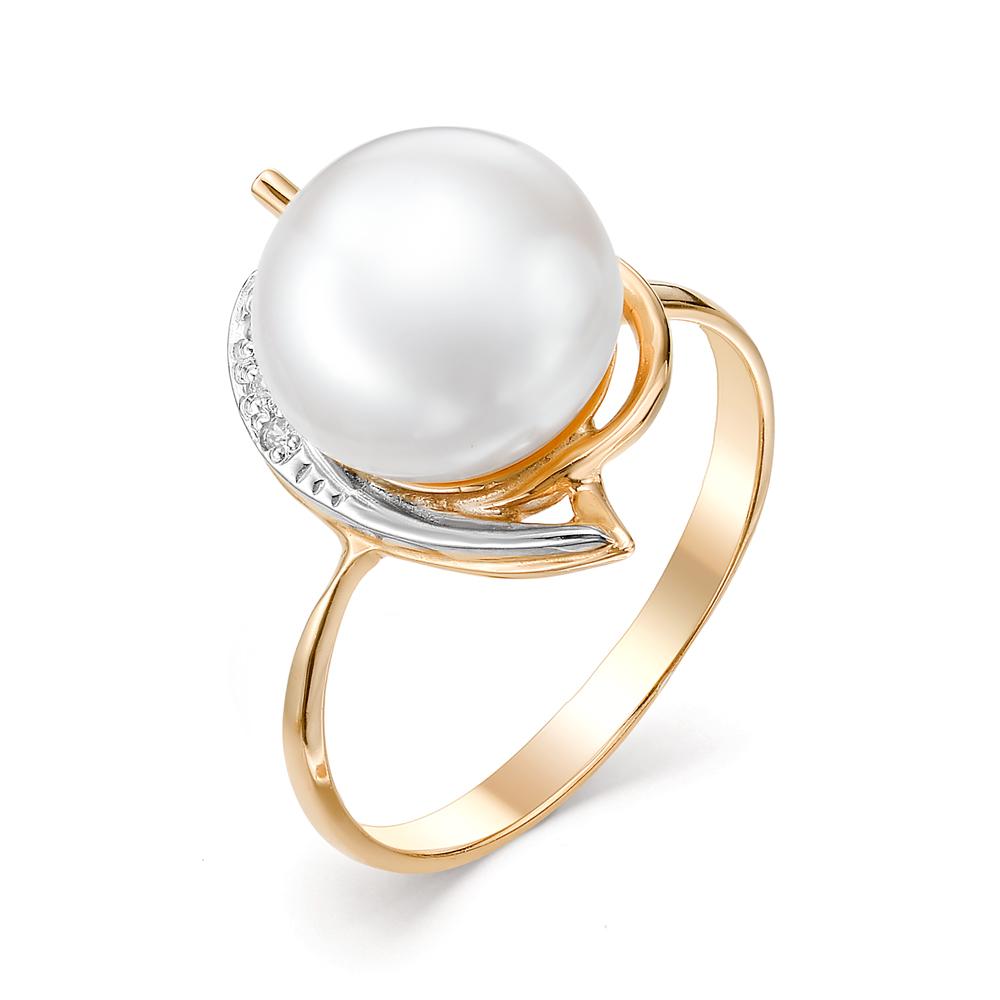 Золотое кольцо Жемчуг и Фианит арт. 31223A1 31223A1