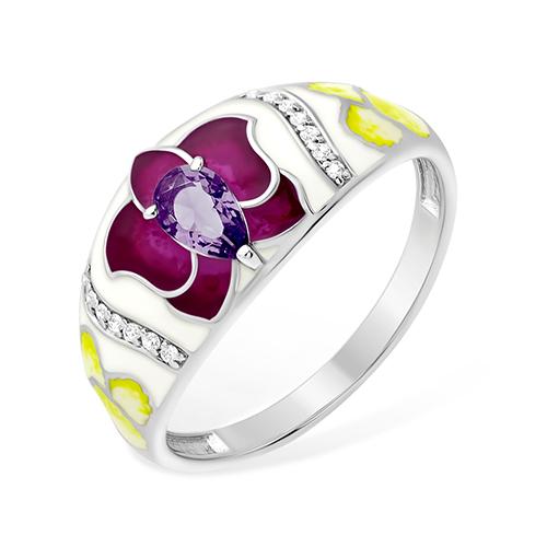 Серебряное кольцо Аметист и Фианит арт. 1015413212-1 1015413212-1