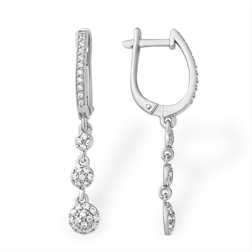 Серебряные серьги с фианитом арт. 1210011517-1 1210011517-1