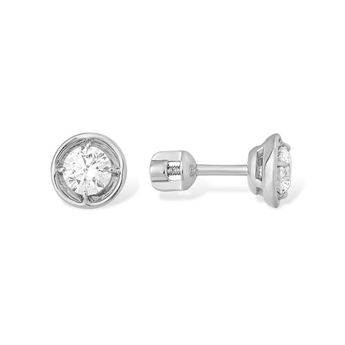 Серьги пусеты из серебра с фианитом арт. 1210014606-501 1210014606-501