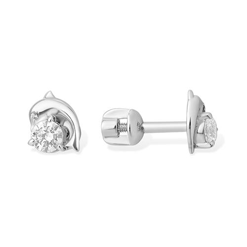 Серьги пусеты из серебра с фианитом арт. 1210015257-501 1210015257-501