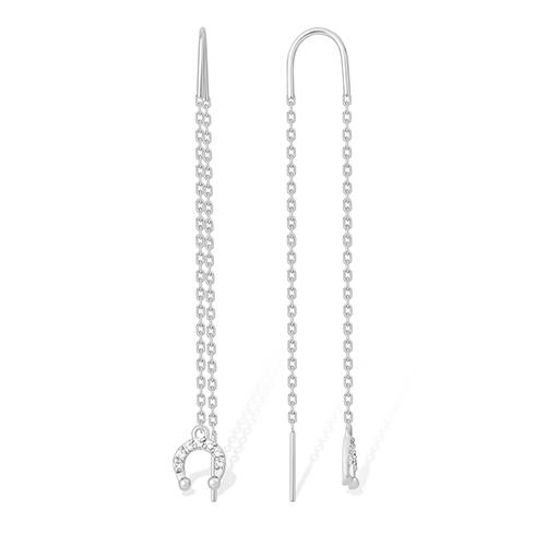 Серьги продевки из серебра с фианитом арт. 1210015531-501 1210015531-501