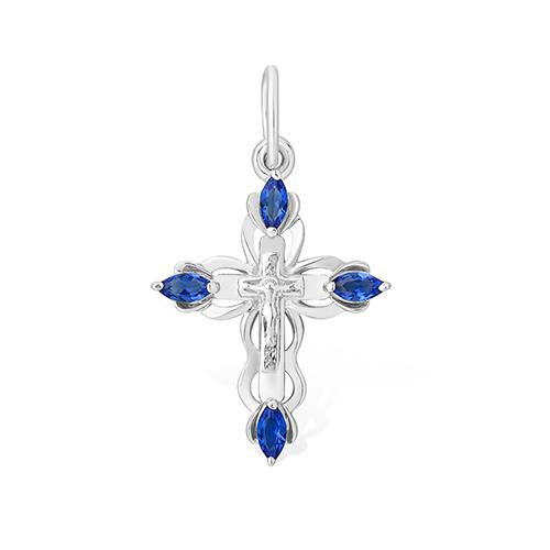 Серебряный крест с синим фианитом арт. 1310014653-502 1310014653-502