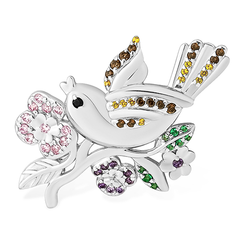 Серебряная брошь с фианитом и розовым фианитом арт. 1510015564-501 1510015564-501
