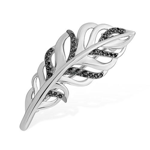 Серебряная брошь с чёрным фианитом арт. 1510065250-503 1510065250-503