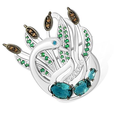 Серебряная брошь с фианитом и зелёным фианитом арт. 1515015563-501 1515015563-501