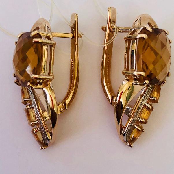 Золотые серьги с фианитом и цитрином арт. 02-626 02-626