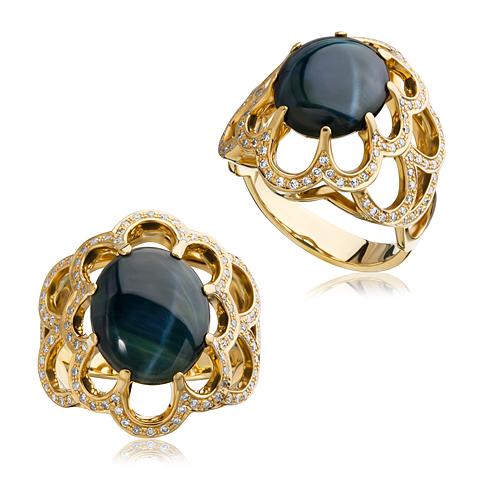 Кольцо из лимонного золота Бриллиант и Турмалин арт. 1-01210 1-01210