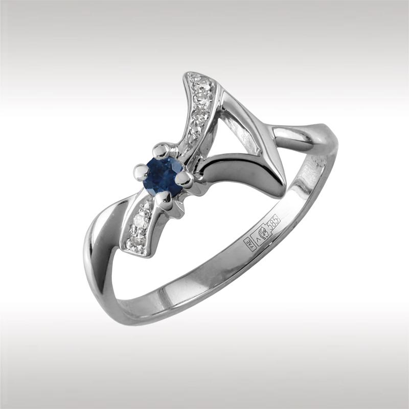 Кольцо из белого золота Бриллиант и Сапфир арт. 90942-1 90942-1
