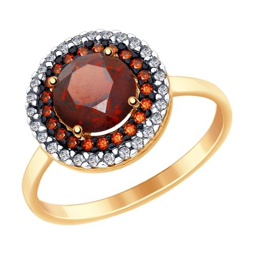 Золотое кольцо Гранат и Фианит арт. 714974 714974