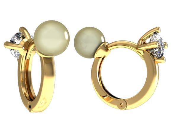 Золотые серьги с жемчугом и фианитом арт. 0116-24 0116-24