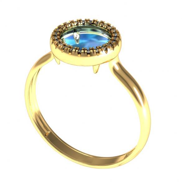 Золотое кольцо Кварц и Фианит арт. 0158-1262 0158-1262