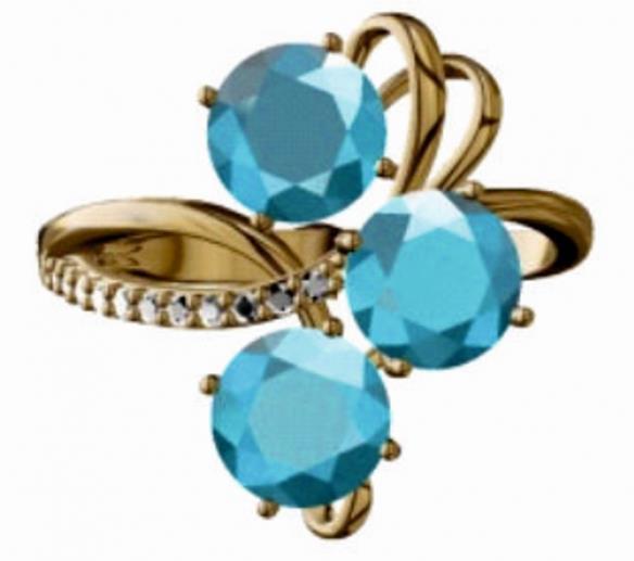 Золотое кольцо Фианит арт. 0075-1214 0075-1214