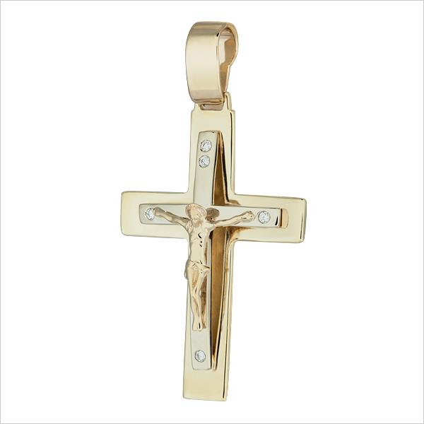 Крест из лимонного золота с бриллиантом арт. 54650 54650