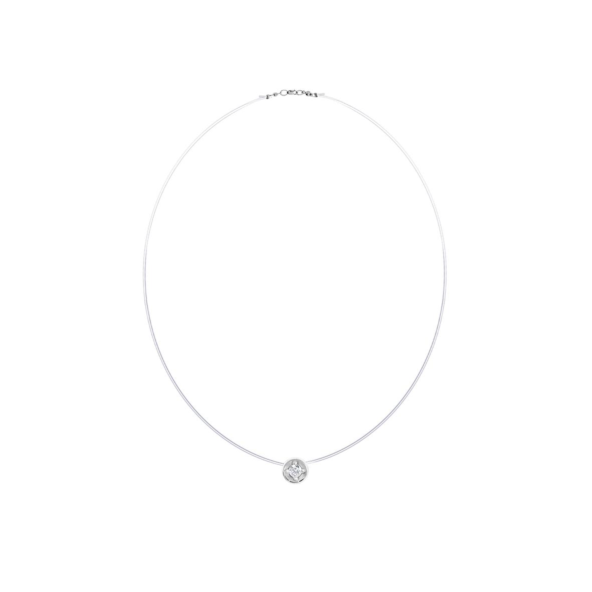 Колье-леска из серебра с леской и фианитом арт. 8340203056-38 8340203056-38