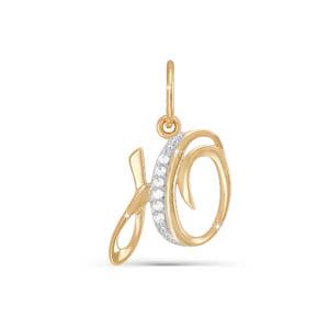 Подвес буква из золота с фианитом арт. 030728 030728