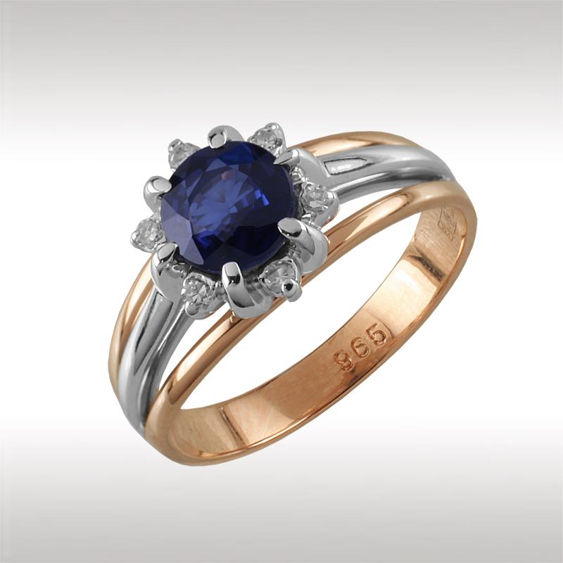 Золотое кольцо Бриллиант и Сапфир арт. 91026 91026