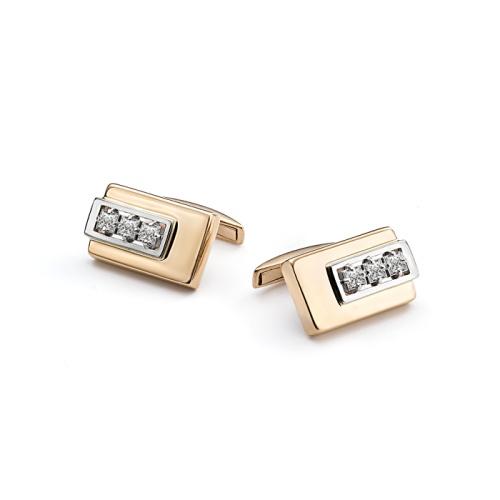 Золотые запонки с бриллиантом арт. 4-013 4-013