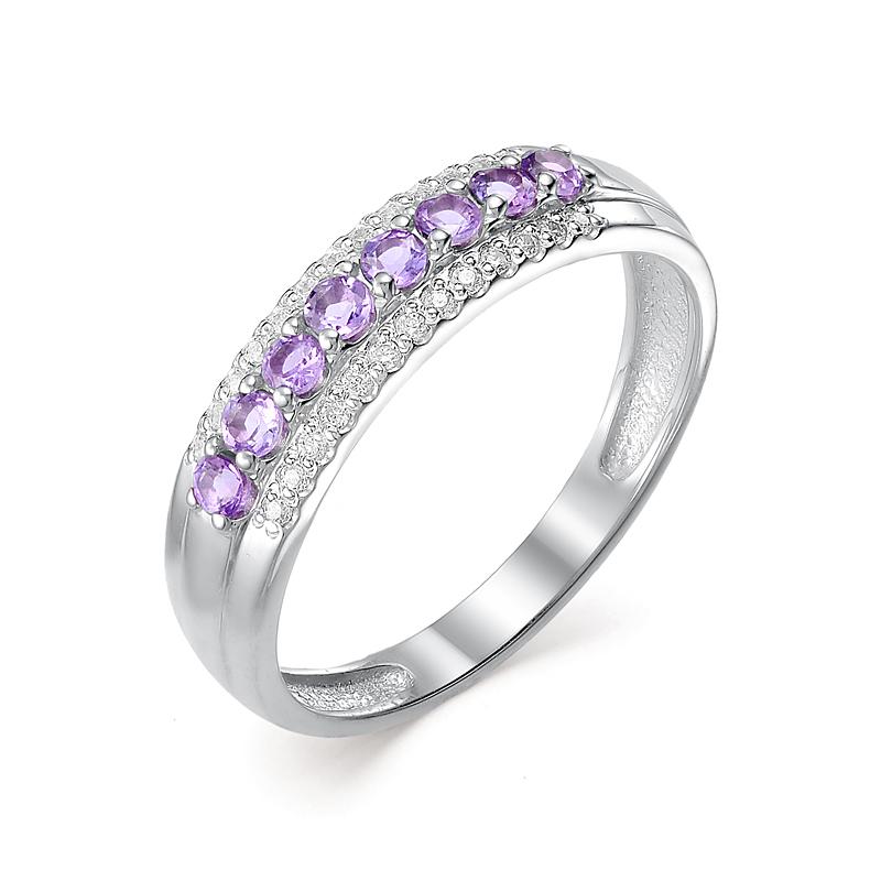 Серебряное кольцо Аметист и Фианит арт. 01-0056/00ам-00 01-0056/00ам-00