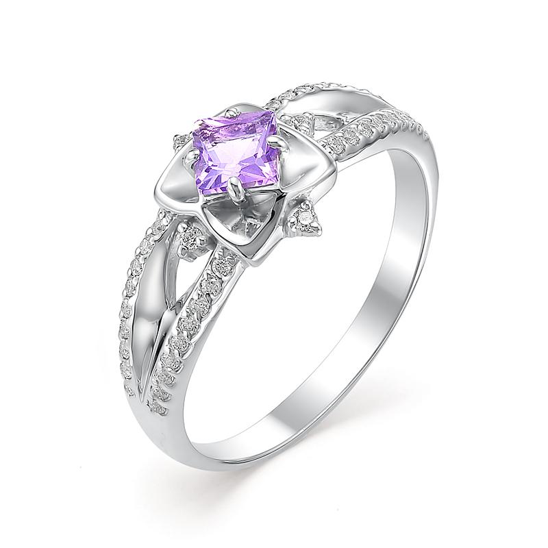 Серебряное кольцо Аметист и Фианит арт. 01-0334/00ам-00 01-0334/00ам-00