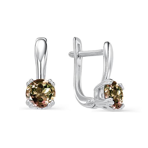 Серебряные серьги с султанитом арт. 02-0023/00ст-00 02-0023/00ст-00