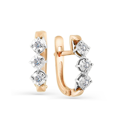 Серьги из белого золота с бриллиантом арт. 2-107-390 2-107-390