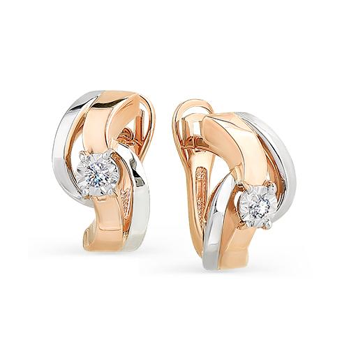 Золотые серьги с бриллиантом арт. 2-107-113 2-107-113