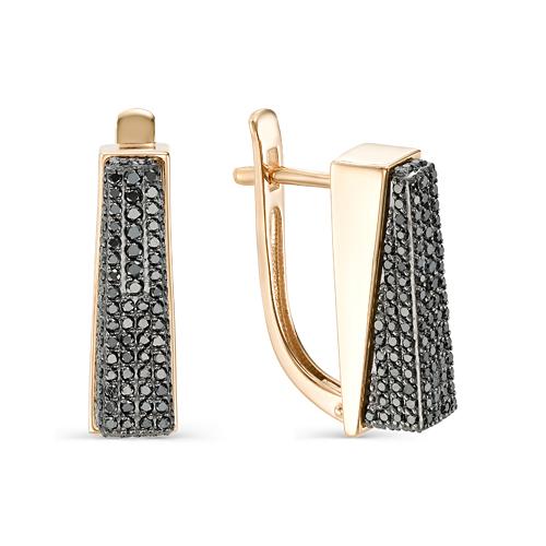 Золотые серьги с чёрным бриллиантом арт. 2-106-809 2-106-809