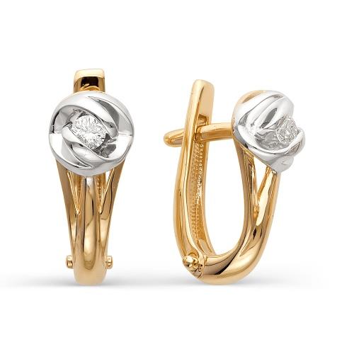 Золотые серьги с бриллиантом арт. 2-105-437 2-105-437