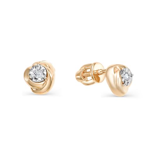 Серьги пусеты из белого золота с бриллиантом арт. 2-106-722 2-106-722