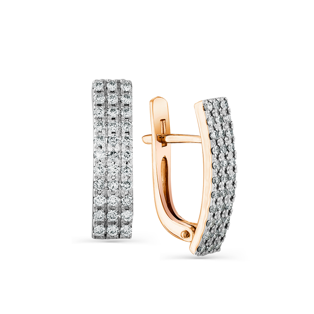 Золотые серьги с бриллиантом арт. 2-107-530 2-107-530