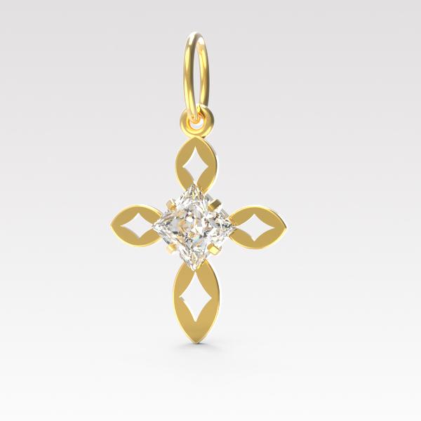 Золотой крест с фианитом арт. п-056 п-056