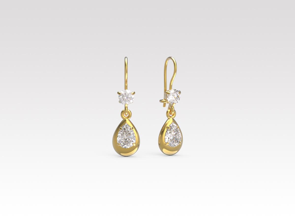 Золотые серьги с фианитом арт. с-478 с-478