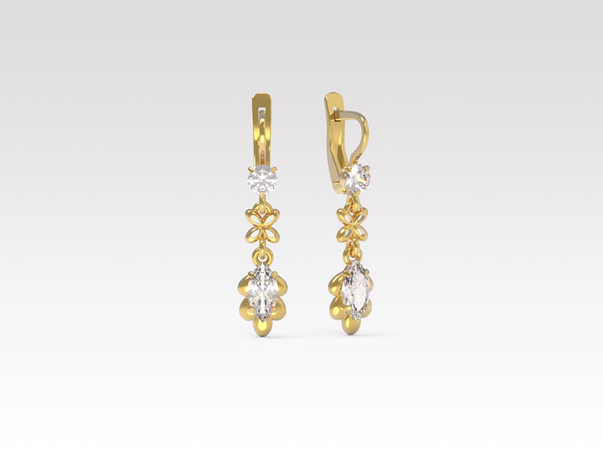 Золотые серьги с фианитом арт. с-546 с-546