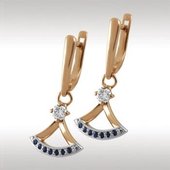 Золотые серьги с бриллиантом и сапфиром арт. 91083 91083