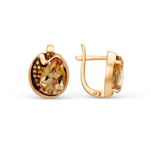 Золотые серьги с топазом и фианитом арт. 21802060 21802060