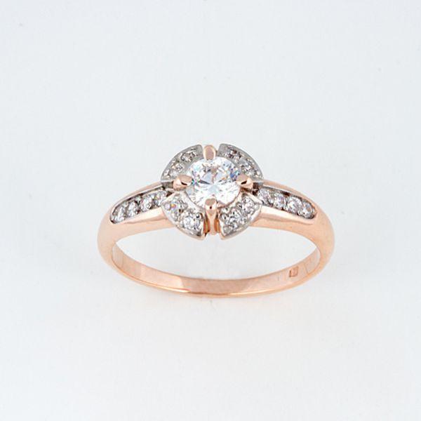 Кольцо серебряное с позолотой Фианит арт. 14517-азр 14517-азр