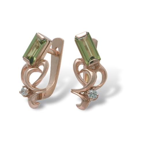 Серебряные серьги с фианитом и хризолитом арт. 4с-423-05 4с-423-05