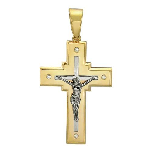 Крест из лимонного золота с бриллиантом арт. 01р680617 01р680617