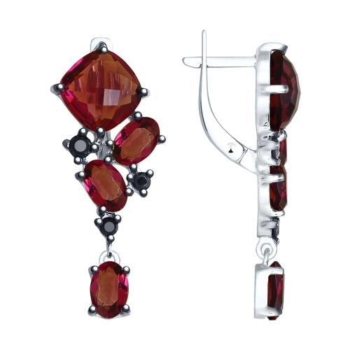 Серебряные серьги с кристаллом сваровски и фианитом арт. 94023043 94023043