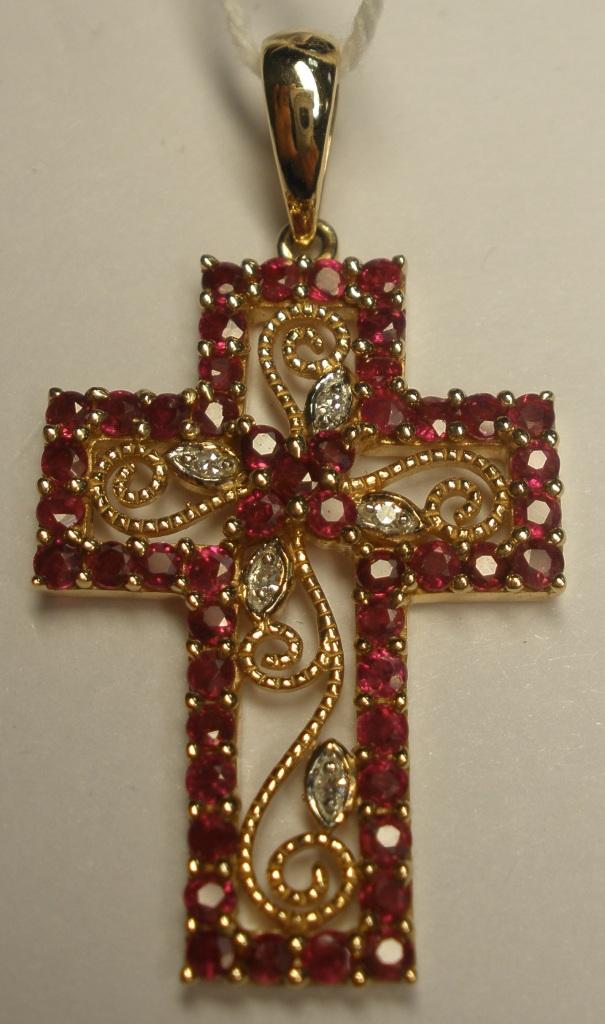 Крест из белого золота с бриллиантом и рубином арт. б332408 б332408