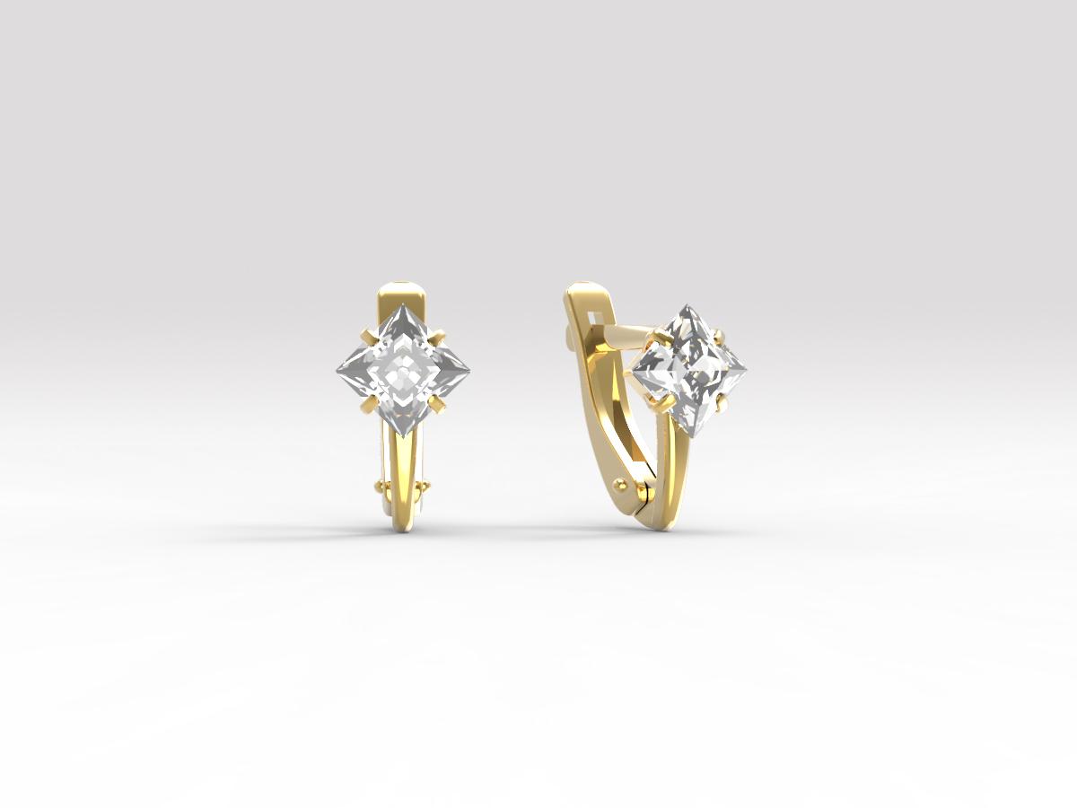 Золотые серьги с фианитом арт. с-106 с-106