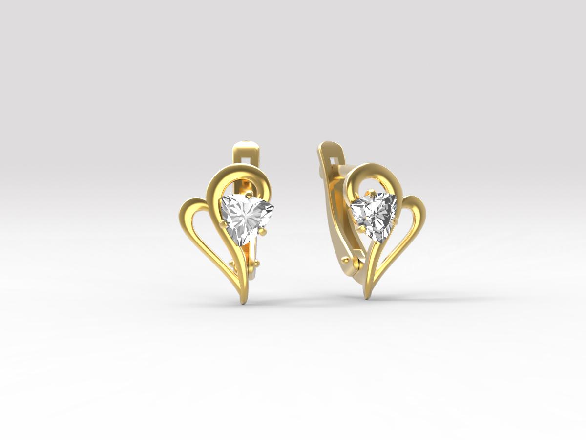 Золотые серьги с фианитом арт. с-116 с-116